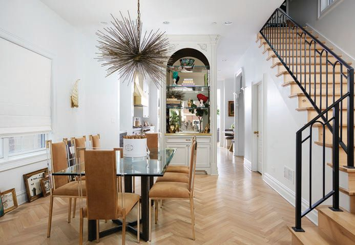 Herringbone white oak floors and antique design